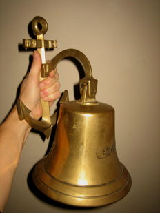 Large copper ship's bell with company stamp and anchor suspension - reproduction model 1842
