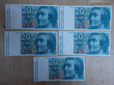 Zwitserland - 5 x 20 francs 1987 - Pick 55g - successive numbers
