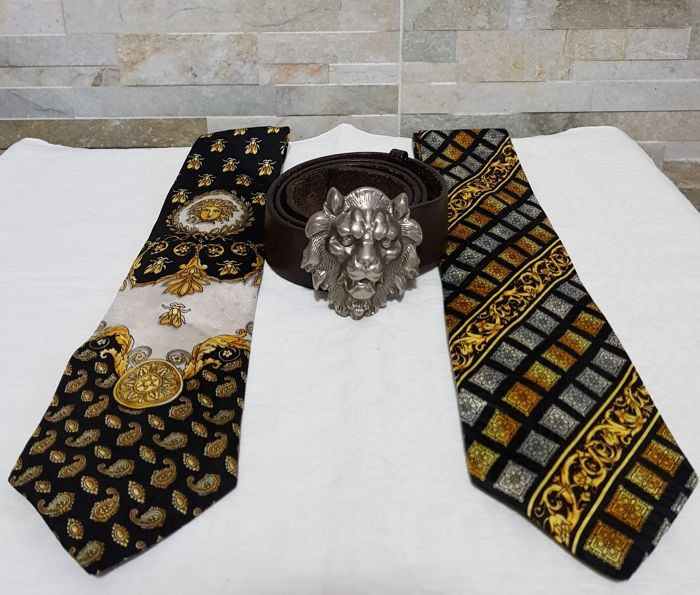 Versace - belt and two vintage ties **No reserve price**