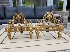 A set of gilded bronze andirons in Louis XVI style - France, late 19th century