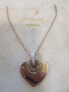 BULGARI BULGARI - CUORE COLLECTION - Heart pendant with 18 kt rose gold chain and pavé of diamonds - Length: 41-43 cm