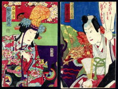Two small kabuki theatre woodblock prints - Japan - circa 1890