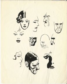 Micheluzzi, Attilio - Sketch of various characters