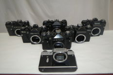 "Lot of six working cameras ""ZENIT"" of various models - without lenses.As a gift, one is not working - as a donor."
