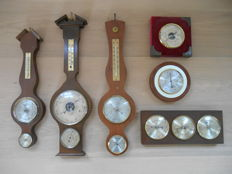 Lot van 6 oude barometers en thermometers