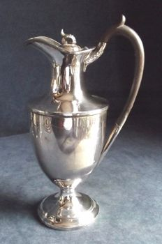 Lot 804 - Antique English silver plated amphora for water or wine with lid and wooden handle marked Harrison Fisher, England, 1890s