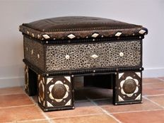 Stunning and very richly decorated handmade African side table