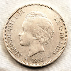 Spain - Alfonso XIII - 5 silver pesetas in silver - 1893*18-93 PGV - Madrid