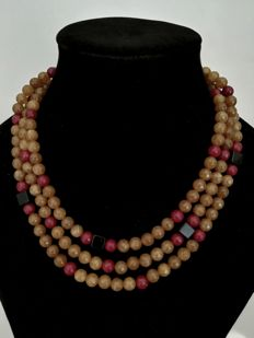 Brown Agate Necklace 8mm with rubies and onyx - 3 loops - threaded separately on silk