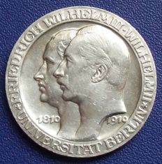 Empire, Prussia - 3 Mark 1910 A to 100 year celebration of the Berlin University - silver