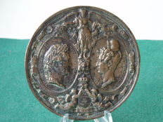 Plaque bronze wedding Louis Philipe I and Marie Amelie Reine