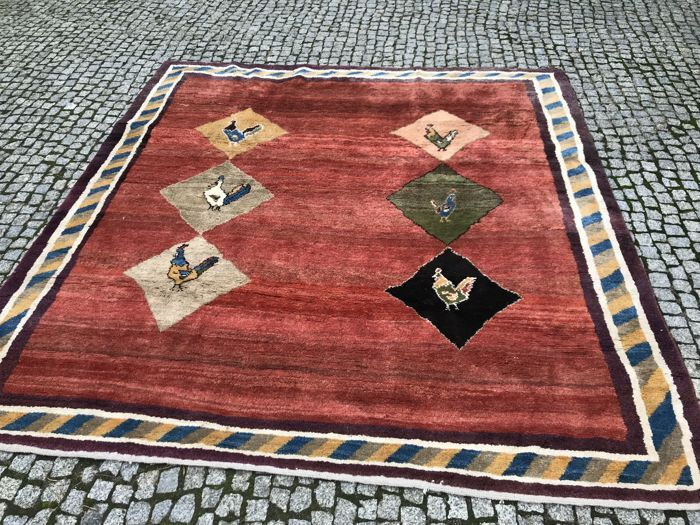 OLD Made in Iran - Persian Gabbeh Carpet -Hand knotted - 245x230 cm