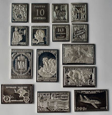 France - Collection of 15 silver stamps - replicas
