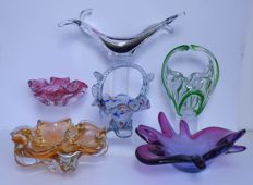Lot of 6 items of Murano glass
