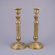 A pair of brass candlesticks with 3 caryatids - Napoleon III - France, c. 1860