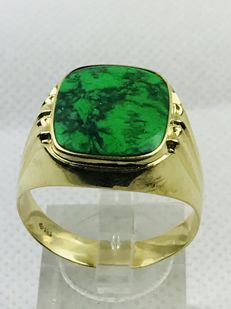 Gold ring (14 kt) with turquoise