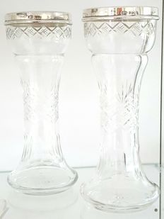 2 English crystal vases with marked silver edge - 1827