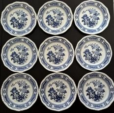 English service of 9 dessert plates by Royal Swan English Fashion Ceramics, perfect.