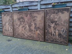 A triptych of machine woven wall tapestries - Belgium - circa 1900