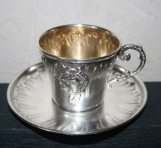 Lovely antique sterling silver cup and saucer, Minerva's head hallmark, 950/1000, silversmith's mark: Gaston Bardiés, 1897, Paris