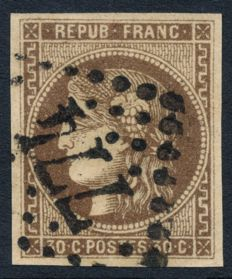 France 1853 - Cérès Bordeaux 30c brown - Yvert n° 47