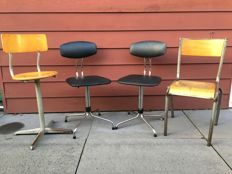 Designer unknown - four industrial chairs