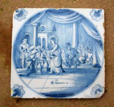 Antique tile with a biblical depiction (rare)