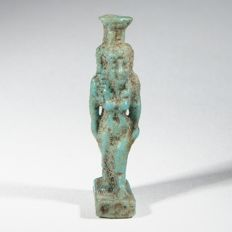 Turquoise faience amulet of Nephthys  H. 27 mm