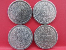 The Netherlands - 25 cents 1912, 1918, 1919 and 1925, Wilhelmina (4 pieces) - silver