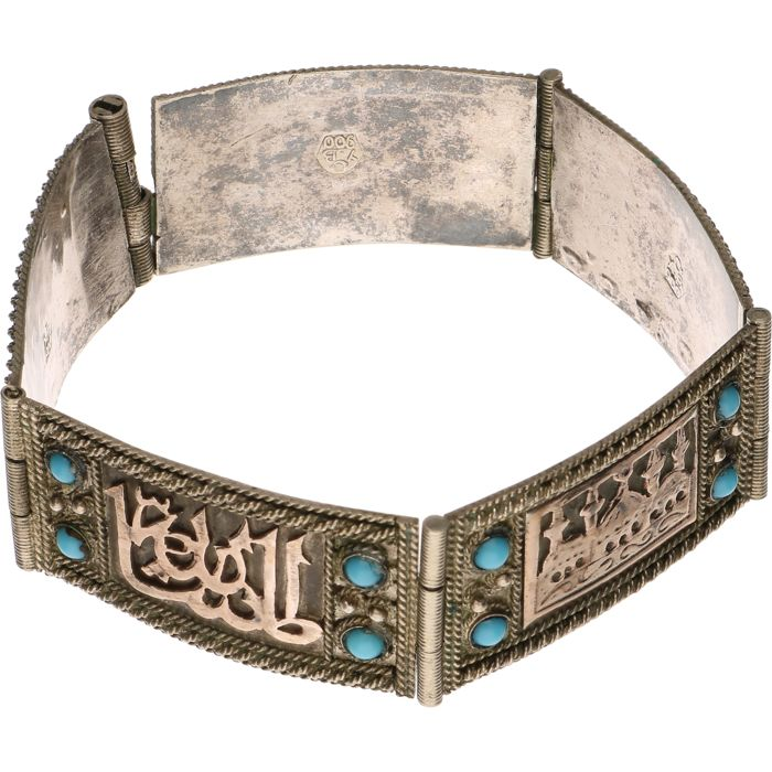 Silver bracelet with gold accents and Arabic images - Catawiki