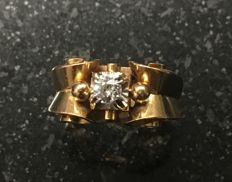 Antique 18 kt gold ring with diamond 1950 period 6 g size 50