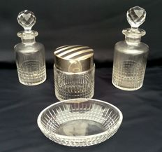 Baccarat Nancy model, set of 4 toiletry pieces in cut crystal, France, ca. 1930