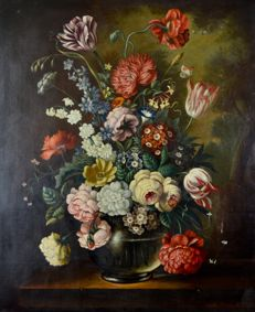 Martin Benedight (20th century) A still life of flowers.
