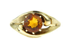 14 kt Yellow gold women's ring set with Madeira citrine - ring size 16-