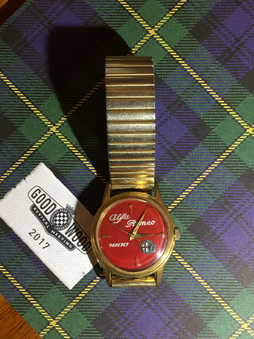 Alfa Romeo watch gold colour on red dial 1600 GT mechanical