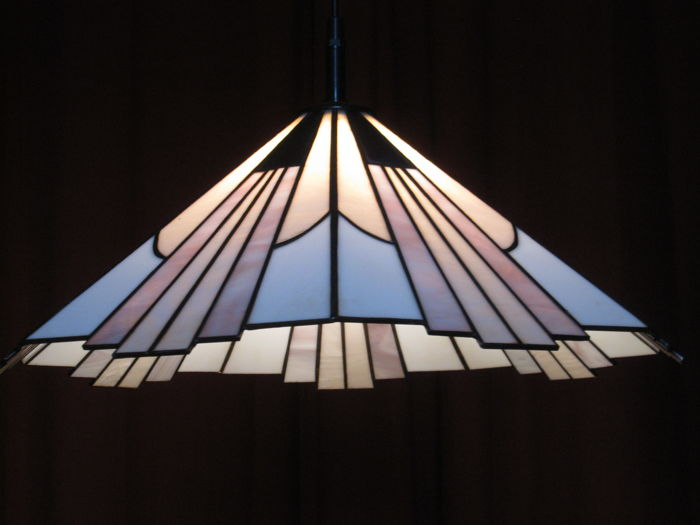 Amsterdam School - hanging lamp of opaline glass