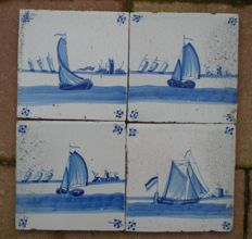 Lot with 4 tiles with ships as corner motifs, special depiction!