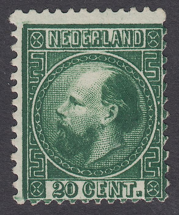 The Netherlands 1867 - King William III, Third emission - NVPH 10 type IA, with inspection certificate.