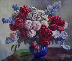Continental school (20 century) - A still life of summer flowers