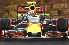 Max Verstappen Red Bull Racing TAG Heuer F1 Car ORIGINAL Oil Painting on Canvas hand-made by Artist Andrea Del Pesco + COA.