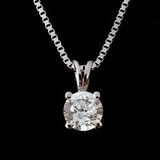 1.13 ct Round Diamond Pendant - F / SI2 - in 14 kt white gold - IGL Certified + Laser Insription On Girdle 3 x EX.