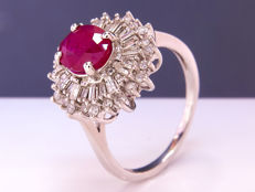 1.77 Ct fine diamond & ruby ring - Size 58 - NO Reserve!
