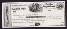 USA - Obsolete currency - 100 dollars 1865 - State of Illinois County of Ogle - remainder