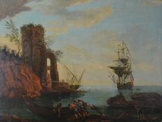 Continental school (18th century) - A continental harbour scene with figures