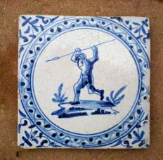 Antique tile, warrior in circle band !  Rare
