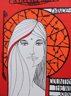"Rare psychedelic  ""1966 COUNTRY JOE FISH CONCERT POSTER BERKELEY San Francisco"""