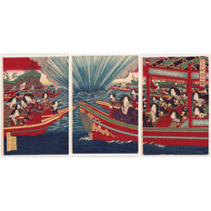 "Original woodblock prints in complete triptych by Kobayashi Toshimitsu (act. 1876–1904) - ""Court ladies on a boating party"" - Japan - 1879"