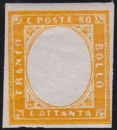 Sardinia, orange 80 Cent stamp from 1858–1862, without imprinted effigy, block of 2 – Bolaffi 14B