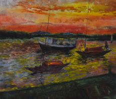 Herbert Holt (1891-1978) - Burmudan boats at sunset