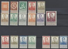 Belgium - Numer (1c), Standing lion (2c and 5c) and King Albert I - Complete series 'Pellens' - OBP 108 to 125